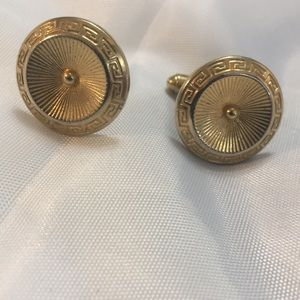 Gold Tone Cuff Links With Greek Boarder